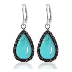 Sterling Silver Earrings with Pear Shaped Turquoise and Round Black... (4.985 RUB) ❤ liked on Polyvore featuring jewelry, earrings, round turquoise earrings, black spinel earrings, blue turquoise earrings, turquoise jewelry and black spinel jewelry