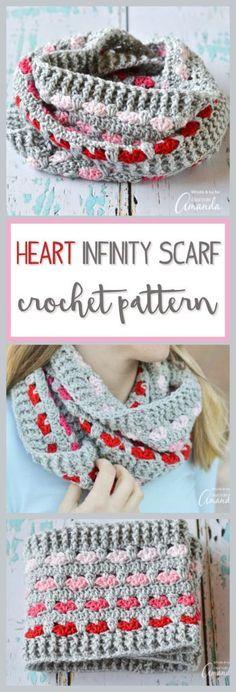 Heart Infinity Scarf Crochet Pattern