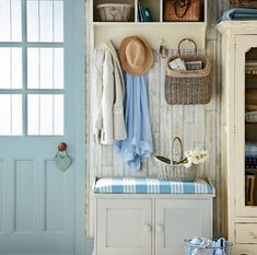 Shabby-Chick Interiors. This is a very cute shabby-chic mudroom. Who doesn't love shabby-chic interiors, right? Juts lovely! #ShabbyChicInteriors #ShabbyChic