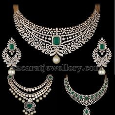 Square shaped emerald adorned opulent diamond necklaces with pearls. paired with matching chandbalis from Shobha Asar.