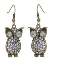 BLINKY Gold Clear Crystal Owl Hook Earrings
