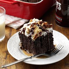 German Chocolate Tres Leches Cake Recipe -I first tried tres leches cake while in Ecuador several years ago. Since then, I've changed it up by adding some of my favorite ingredients, namely chocolate and coconut. This version also has a splash of rum for an adults-only treat. —Lisa Varner, El Paso, Texas
