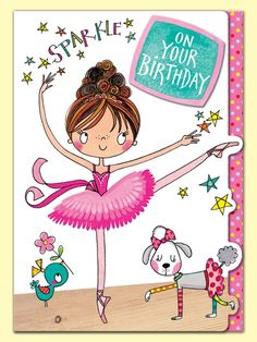 Ballerina - Sparkle on your Birthday greeting card by Rachel Ellen Designs