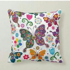 Rainbow Butterfly, Butterfly Flowers, Beautiful Butterflies, Butterfly Pillow, Butterfly Pattern, Custom Pillows, Decorative Throw Pillows, Butterfly Decorations, Textiles