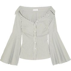 Caroline Constas Persephone off-the-shoulder striped cotton-poplin... (1.910 RON) ❤ liked on Polyvore featuring tops, blouses, white stripes shirt, striped shirt, white shirt, off-shoulder blouses and striped off the shoulder top