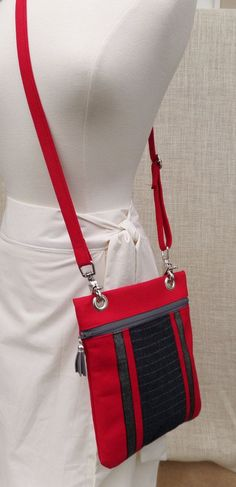 Madison crossbody in scarlet and gray by JodyByrdDesign on Etsy