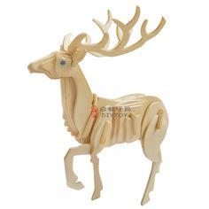 Animal Puzzle, Wood Crafts, Deer, Origami, Lion Sculpture, Statue, 3d, Model, Animals