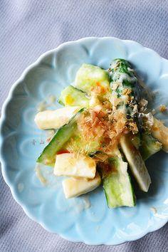 暑いから火を使わない3分副菜! きゅうりと長芋のごま梅おかか和え レシピブログ
