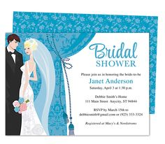Drapery Bridal Shower Invitation Templates. Printable, DIY template editable with Word, Publisher, Apple iWork Pages, OpenOffice.