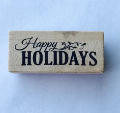 New- For Rubber Stamping and Handmade Cards Wood Mounted Rubber Stamp-- Happy Holidays by YourScrapbookingShop on Etsy