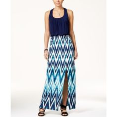 Trixxi Juniors' Crisscross-Back Printed Maxi Dress ($49) ❤ liked on Polyvore featuring dresses, navy, white ruched dress, navy dress, slit maxi dress, shirred dress and white slit dress