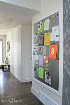 MUDROOM: Memo Magnet Board, horizontal panelling, floor color, overall crisp look