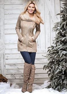 Shearling sweater coat | XS - XL. I have this is black. I love it!
