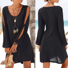 For Sale - Women Summer Dress Women Casual O-Neck Hollow Out Sleeve Straight Dress Solid Beach Style Mini Dress Dress Plus Size, Vestido Casual, Dress Casual, Moda Casual, Mode Chic, Mini Vestidos, Straight Dress, Long Sleeve Mini Dress, Dress Long