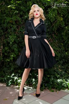Sophisticated Workwear Swing Dress with Wide Collar and Half Sleeves in Black   Pinup Girl Clothing