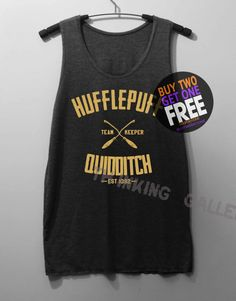 Hufflepuff Quidditch Shirt Harry Potter Shirt by ThinkingGallery