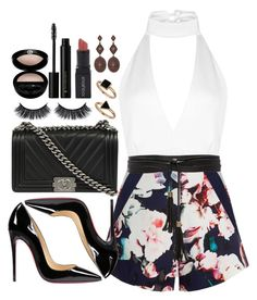 """""""Sem título #342"""" by mika-3 ❤ liked on Polyvore featuring Boohoo, Christian Louboutin, Finders Keepers, Chanel, Lovers + Friends, Smashbox, Giorgio Armani, Illamasqua and Montana Silversmiths"""