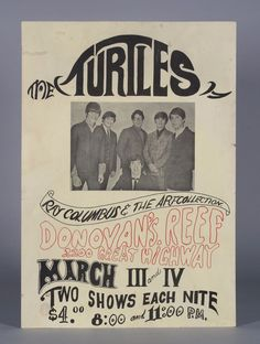 THE TURTLES at DONOVAN'S REEF- 1967 - Rare San Francisco Pyschedelic Rock Poster