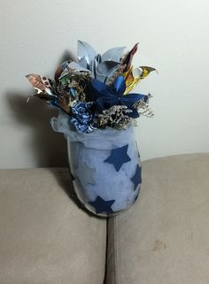 #paper#flowers arrangement made as a #gift for my boss, a #Dallas#Cowboys#Fan. #creative#reuse #origami #fabric#flowers