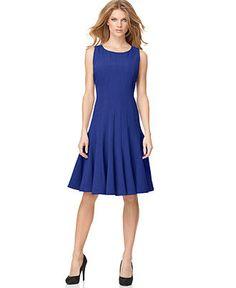 Calvin Klein Dress, Sleeveless Pleated A-Line - Dresses - Women - Macy's