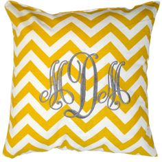 Luxury Monograms Pillow.  Chevron+Monograms=LOVE