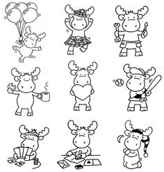 Cute little moose Colouring Pages, Coloring Books, Moose Clipart, Moose Cartoon, Moose Crafts, Applique Patterns, Digital Stamps, Fabric Painting, Cartoon Drawings