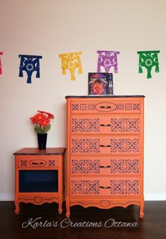 Painted with Barcelona Orange and Napoleonic blue from Annie Sloan Chalk Paint, inspired form the movie Coco Napoleonic Blue, Annie Sloan Chalk Paint, Bohemian Style, Mexican, Fancy, Orange, Barcelona, Painting, Inspiration