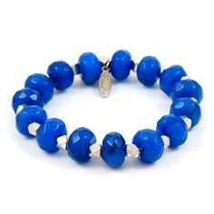 Elastic Turquoise Beaded Bracelet with Silver Faceted Beads
