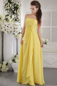 Strapless Yellow Bridesmaid Dress With Flower Details