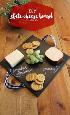 DIY Slate Cheese Board Hostess Gift