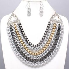 Chunky Waterfall of Rows Chains 3 Color Tone  Necklace Set Fashion  #FashionJewelry