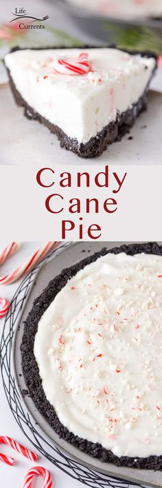 Candy Cane Pie - Life Currents - Candy Cane Pie Oh my gosh this pie is delicious! Light and fluffy candy cane flavored filling surrounded by a chocolate cookie crumb crust. It's like a holiday dream come true. And, it's super easy to make! Great Desserts, Best Dessert Recipes, Holiday Desserts, Sweet Recipes, Delicious Desserts, Pie Recipes, Copycat Recipes, Best Christmas Recipes, Holiday Recipes