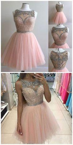Chic Pink Short Prom Dress - Bateau Sleeveless Sequin Beaded Illusion Back