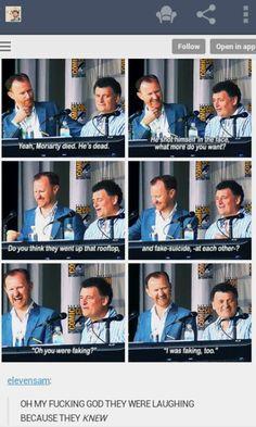 Moffat on Moriarty. I want Moriarty alive as much as Sherlock! Sherlock Poster, Sherlock Fandom, Sherlock Quotes, Watson Sherlock, Sherlock John, Sherlock Holmes Funny, Sherlock Cast, 221b Baker Street, Jim Moriarty