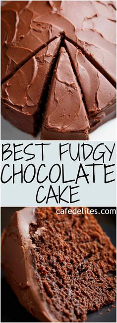 The most amazing, ONE BOWL, BEST Fudgy Chocolate Cake is so rich and decadent, with the perfect balance of fluffy and fudgy! An ORIGINAL Cafe Deli. Food Cakes, Cupcake Cakes, Just Desserts, Delicious Desserts, Amazing Dessert Recipes, Cake Cafe, Chocolate Recipes, Cake Chocolate, Chocolate Fudge Frosting