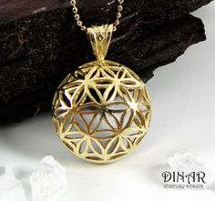 This 14k yellow gold pendant, was meticulously handcrafted only to become an eye pleasing delight.  The 'feminine flower of life' pendant is basde on a symbol of sacred geometry, that captured us as artists, and became our main insparation to this exquisite collection.