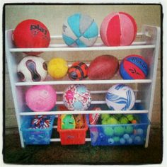 Use toy shelf as storage for sports equipment (from Family Fun magazine, September 2012, p50)