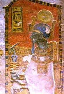 The god Ptah, a creator deity, in the tomb of Ramesses III. Ptah: http://amentetneferet.wordpress.com/gods/triad-of-memphis/ptah/