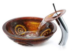 unusual water faucets | Unique Attractive And Eye-Catching Copper Glass Vessel and Waterfall ...