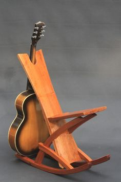 Guitar Chair, Guitar Shelf, Guitar Display, Guitar Hanger, Custom Woodworking, Woodworking Projects, Red Rocking Chair, Wood Guitar Stand, Instruments