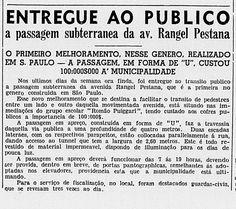 Av. Rangel Pestana, passagem subterrânea anunciada no Correio Paulistano, 24.9.1938.