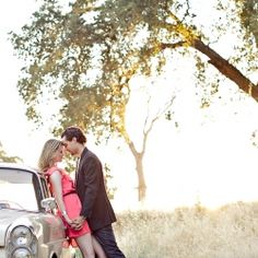 An engagement session with a vintage car and a beautiful couple in Sacramento CA