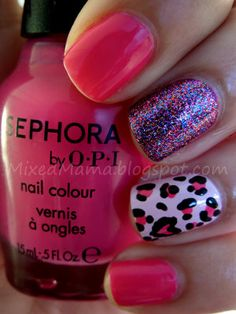 Girly Leopard Nails, summer will be a fun time for my nails
