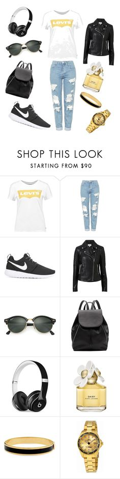 """Outfit Inspiration // Rock' n' Roll Gold"" by peltomakipauliina on Polyvore featuring Levi's, Topshop, NIKE, Witchery, Ray-Ban, Beats by Dr. Dre, Marc Jacobs, Halcyon Days and Invicta"