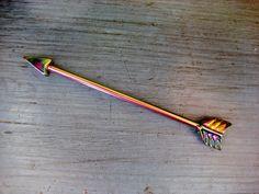 Industrial Barbell 14g Earring, Rainbow Arrow Industrial Barbell Piercing