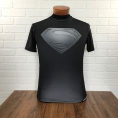 UA Under Armour DC Comics Superman Logo Black Silver Compression T Shirt Men's S #Underarmour #GraphicTee