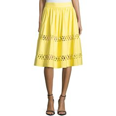 Alice + Olivia Morina Lattice-Trim A-Line Skirt (€125) ❤ liked on Polyvore featuring skirts, yellow, yellow skirt, knee length a line skirt, straight skirts, a line skirt and yellow cotton skirt