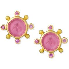 Elizabeth Locke 19K Gold Tiny Bee Pink Sapphire Earrings (11,435 MYR) ❤ liked on Polyvore featuring jewelry, earrings, post earrings, gold earrings, gold drop earrings, gold jewelry and gold jewellery