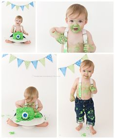 monster Cake Smash/ 1 Year Old/ www.VintagePearPhotography.com