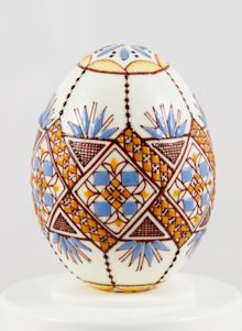 Easter egg in wax technology two-coloured blue/ochre , Ukraine , from Iryna with love